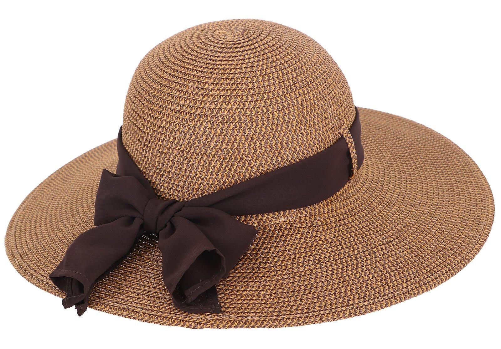 EPYA Travel Hat Women's Wide Brim Beach Straw Summer Hat with Bowtie Ribbon, Brown