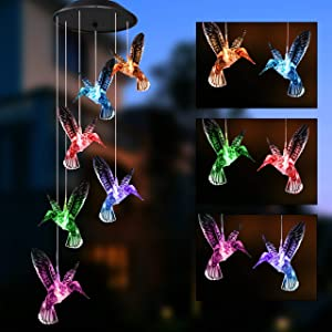 Joiedomi Solar White Hummingbird Wind Chime Color Changing 2 Pack, Outdoor Hanging Decorative Garden Lights Xmas Gifts for Decor Home Garden Patio Yard Indoor Outdoor