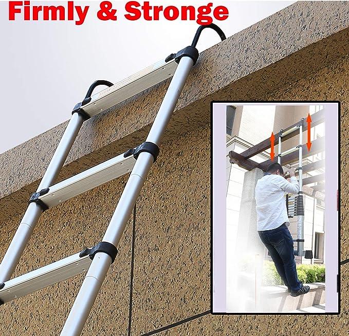 Escalera multiusos de aluminio con gancho para ático, techo de altillo, hogar, exteriores, 150 kg, capacidad máxima EN131, aprobada por seguridad, extensión telescópica, 6,2 m: Amazon.es: Bricolaje y herramientas