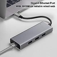 """USB C hub, MixMart adaptador tipo C para MacBook Pro / Air 2018/2017/2016 13 """"15"""" Windows-XP / 2003/2000/7/8/10, 6in1 USBC 5Gbps Data, Gigabit Lan, tarjeta micro SD / SD Lector, 3xUSB 3.0 puertos gris (6 en 1)"""