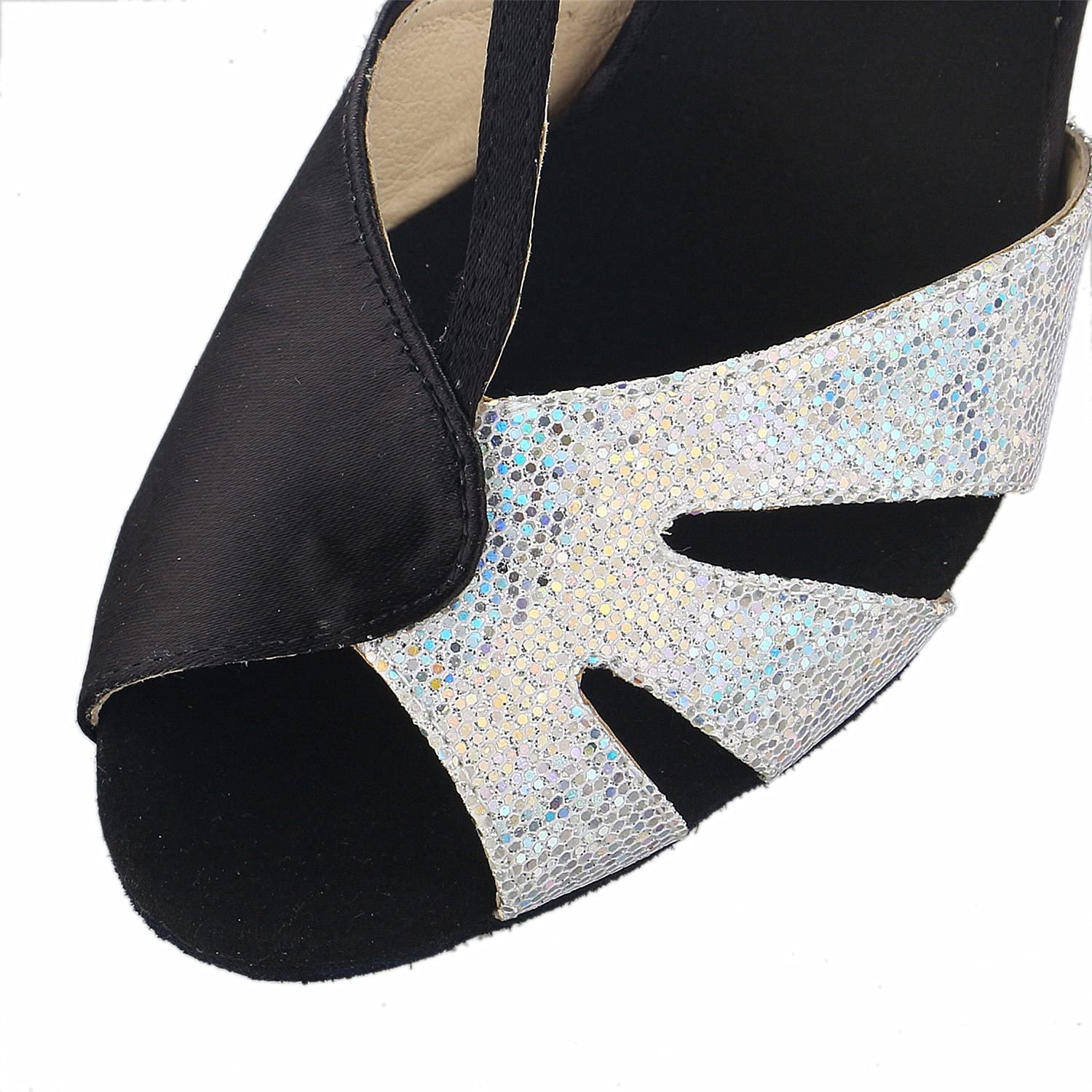 JIA JIA Y20520 Latin Womens Sandals 2.7 Flared Heel Super Satin with Sparkling Glitter Dance Shoes