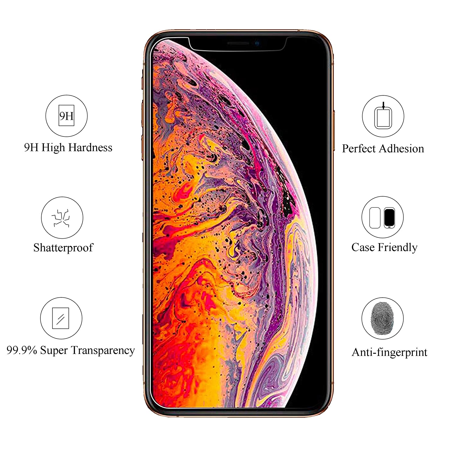 3 Pack AILUN Compatible with Apple iPhone Xs Max Screen Protector 6.5 inch 2018 Release Tempered Glass 0.33mm Anti-Scratch,Advanced HD Clarity Work with Most Case