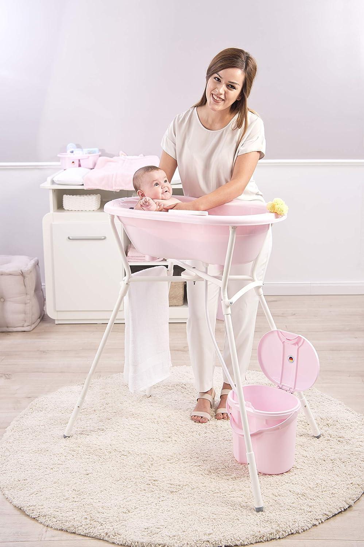 0-12 mois Peach Rotho Babydesign TOP Baignoire avec Tapis Antid/érapant et Bouchon de Vidange 200010254 Orange TOP