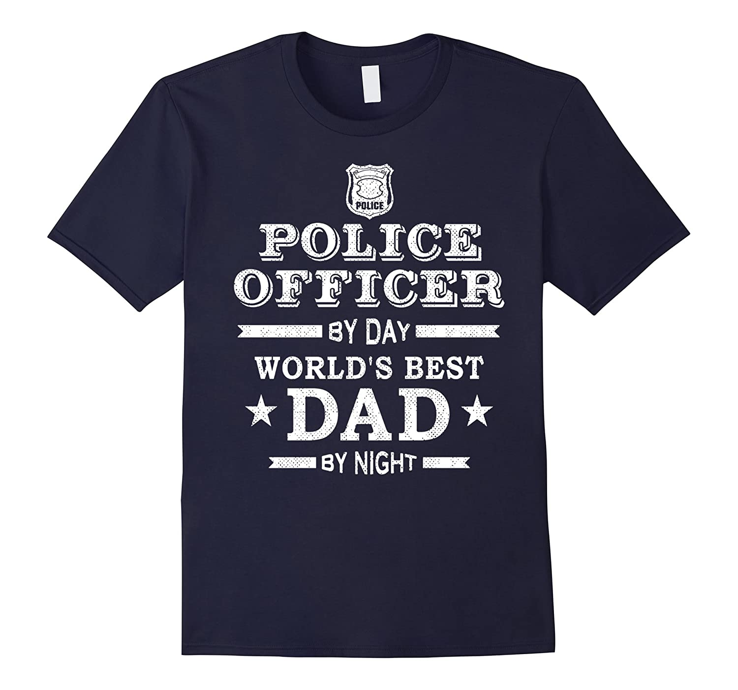 Mens Police Officer Best Dad Shirt Fathers Day Present Gift LEO-TD