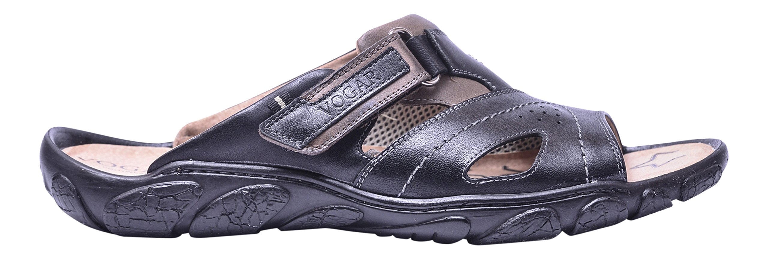 Vogar Mens Slip On Leather Summer Sandals Flat Beach Shoes VG1128 Black 9 US