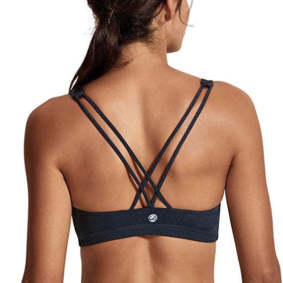 3aacbb9b31 CRZ YOGA Donna Imbottito Reggiseno Sportivo Yoga Spalline Incrociate Top  Senza Ferretto  Amazon.it  Abbigliamento