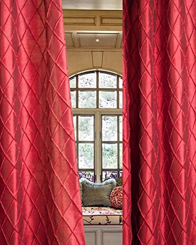 Bu Diamond Pintucked Faux Silk 48 Wide Lined Rod Pocketed Living Room Window Curtain Panel Drape Burgandy, 48 W X 120 L
