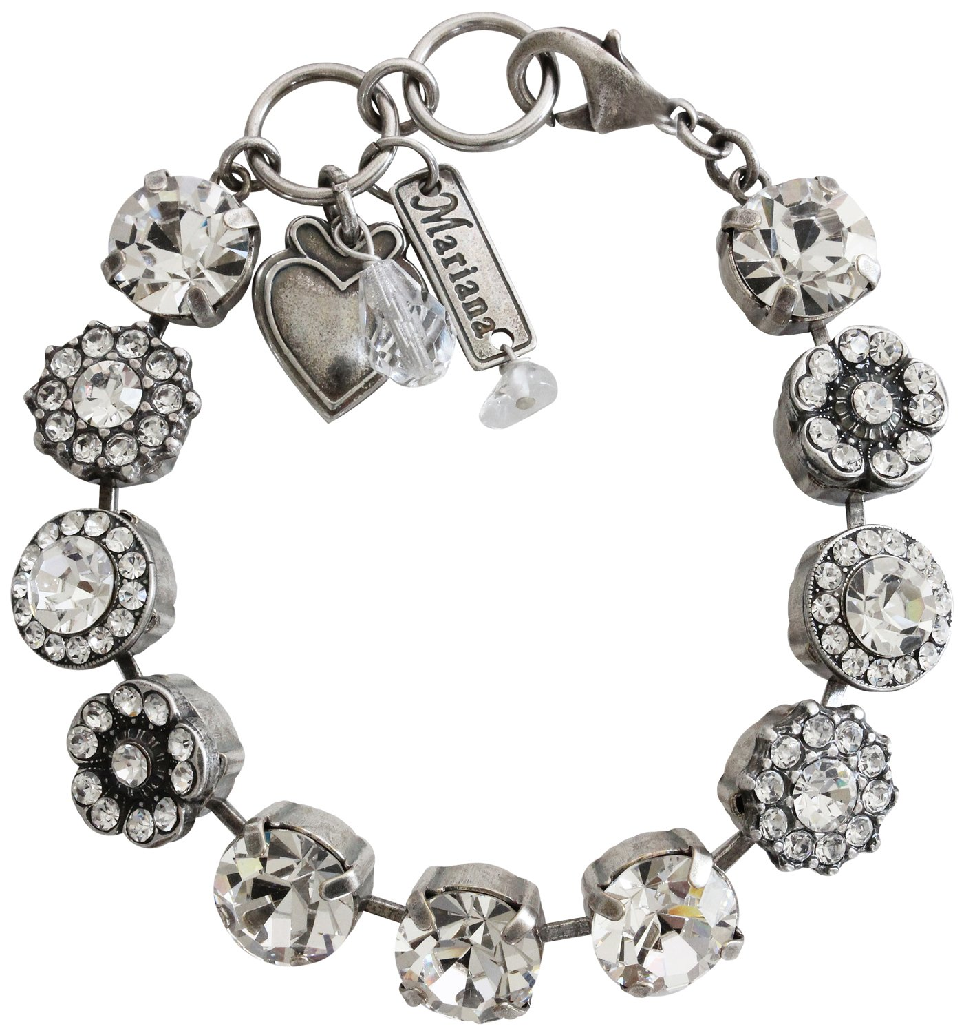 Mariana Silvertone Large Flower Shapes Crystal Bracelet, 7'' ''On A Clear Day'' 4084 001001