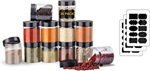 Plastic Jars With Lids Slime Containers 8oz-30 Pack-Leakproof Round Plastic Containers for Kitchen Pantry-Ideal For Home Storage-With 30 Chalkboard Stickers