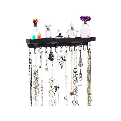 Merveilleux Angelynnu0027s Necklace Holder Organizer Wall Mount Hanging Closet Jewelry  Storage Rack With Shelf, Schelon Black