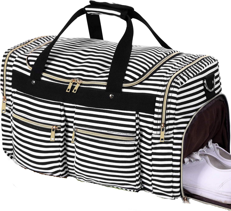 Weekender Overnight Duffel Bag Shoe Pocket for Women Men Weekend Travel Tote Carry On Bag Stripe Black White 0.6cm