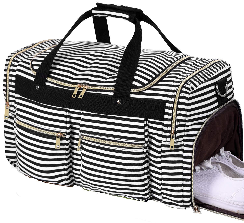 Weekender Overnight Duffel Bag Shoe Pocket for Women Men Weekend Travel Tote Carry On Bag (Stripe Black White 0.6cm)