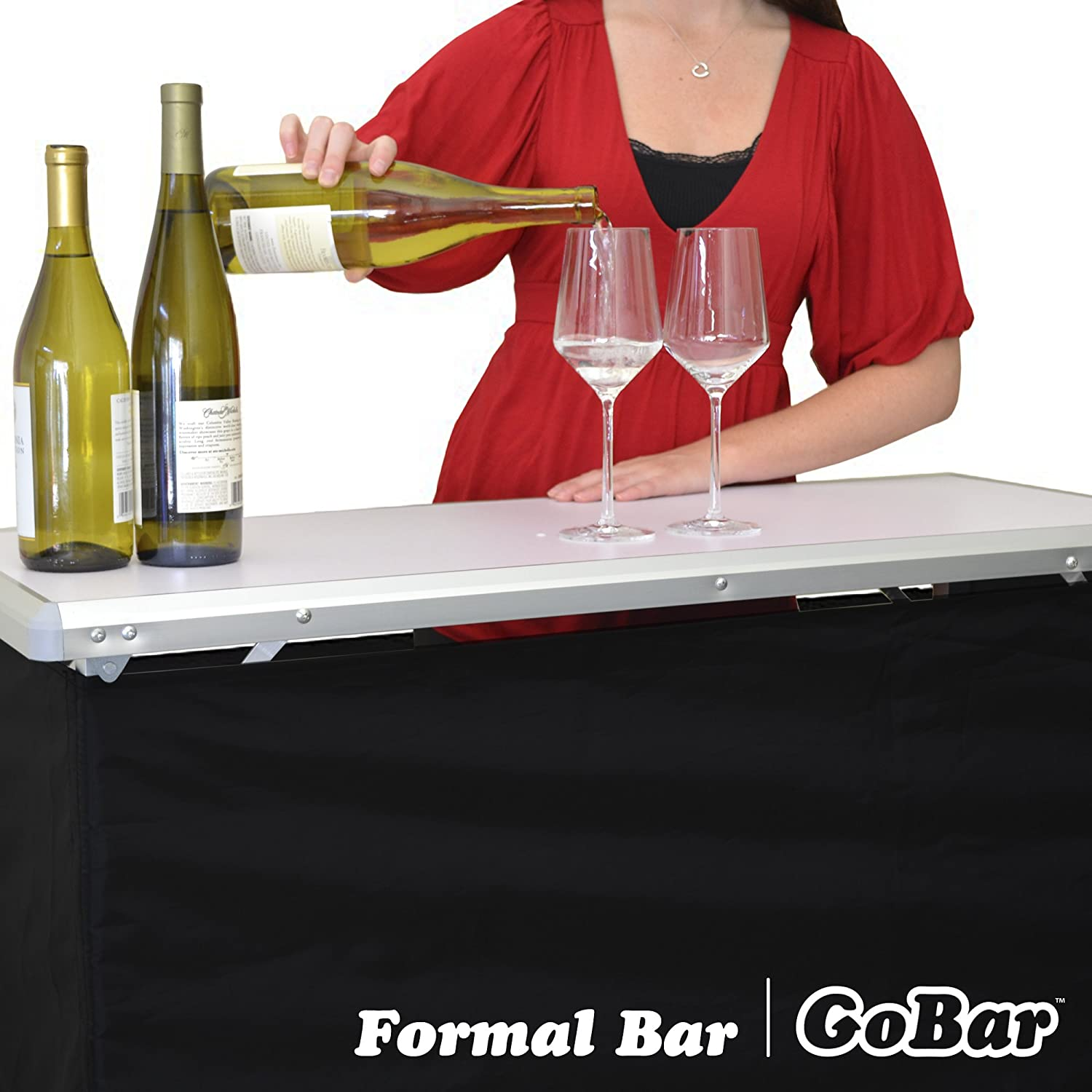GoPong Portable High Top Party Bar Table with Shelf – 15L x 39W x 36H – Includes 3 Front Skirts and Carrying Case