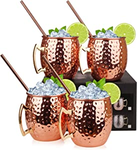 Olebes Moscow Mule Copper Mugs - 4 Pack - 100% Handcrafted Food Safe Copper Plated Mug Cup with Stainless Steel Lining for Drinking, 16 oz Moscow Mule Mugs Set with 4 Straws & 1 Jigger