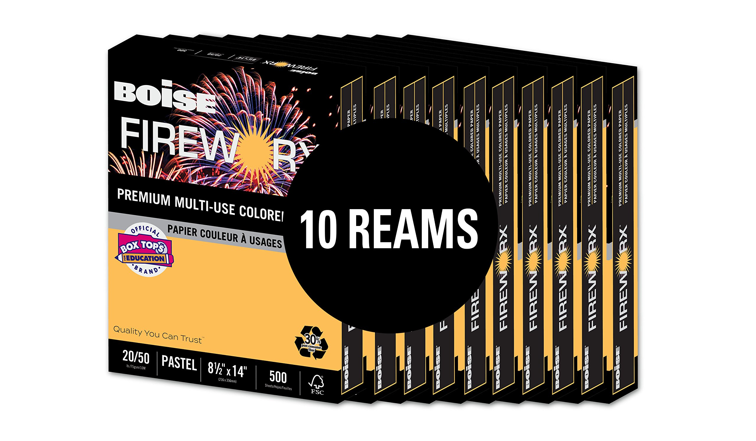 BOISE FIREWORX Premium Multi-Use Colored Paper, 8.5 x 14, Golden Glimmer, 20 lb, 10 ream carton (5,000 Sheets) by Boise Paper (Image #2)