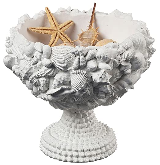 Christmas Tablescape Decor - Medium size white chalk composite seashell decorative bowl
