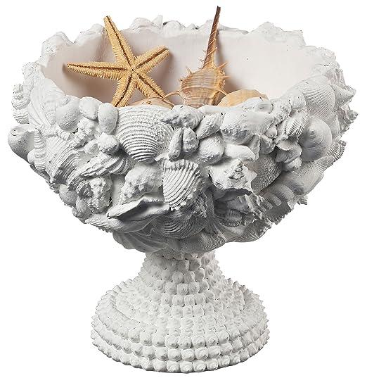 Christmas Tablescape Decor - Medium size white chalk composite seashell decorative bowl