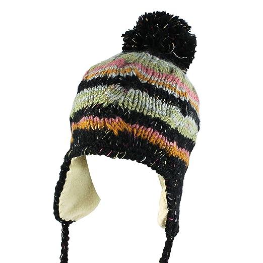 Morehats Multi Stripe Knit Pom Pom Handmade Trapper Bomber Beanie Winter  Ski Warm Hat - Black d9d4e2902e88