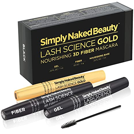 95cc556e716 Amazon.com : 3D Fiber Lash Mascara with Eyelash Enhancing Serum in gold  tube by Simply Naked Beauty. Infused with Organic Castor Oil nourishes  lashes, ...