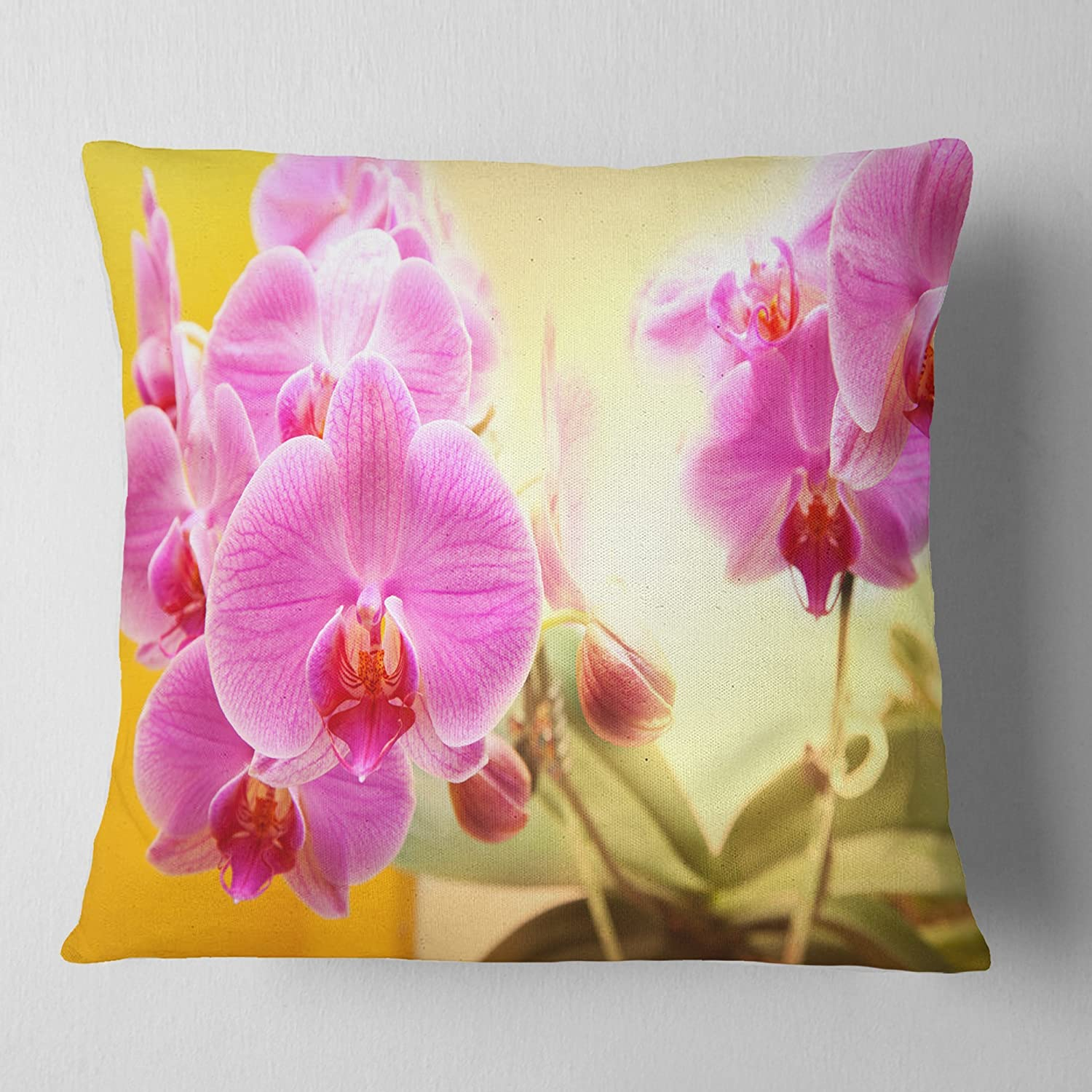 Sofa Throw Pillow 16 in Insert Printed On Both Side in Designart CU12591-16-16 Blooming Purple Orchid Flowers Floral Cushion Cover for Living Room x 16 in