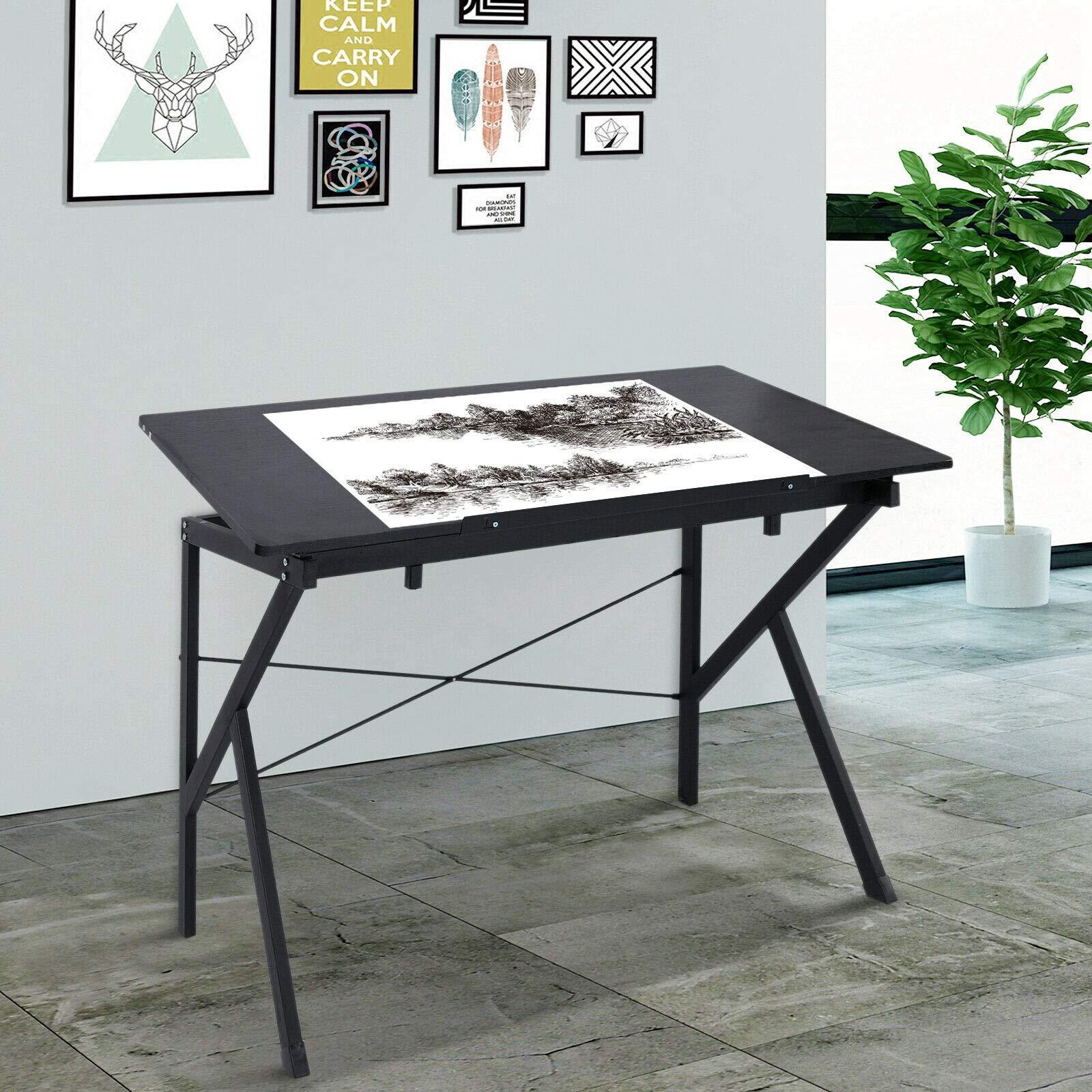 Adjustable Tilting Art Drawing Draft Table Home Office Desktop Wooden Foldable Black