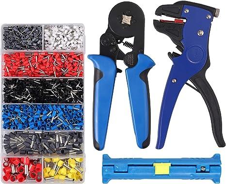 1200Pcs Crimp Tool W// Bootlace Ferrule Crimper Plier Wire Terminal Connector Set
