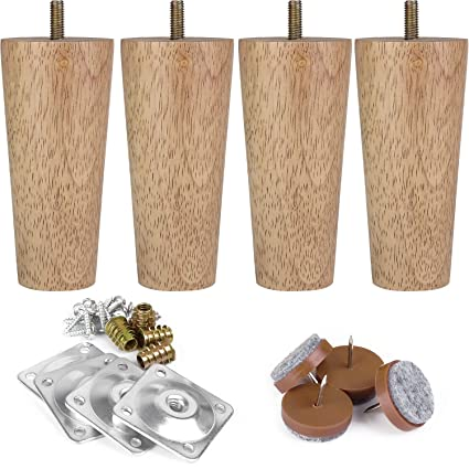 Cool Full Set Furniture Legs 5 M8 Ikea Replacement Legs With Leg Mounting Plates Felt Protectors Tapered Wood Legs For Furniture Sofa Couch Ottoman Ibusinesslaw Wood Chair Design Ideas Ibusinesslaworg