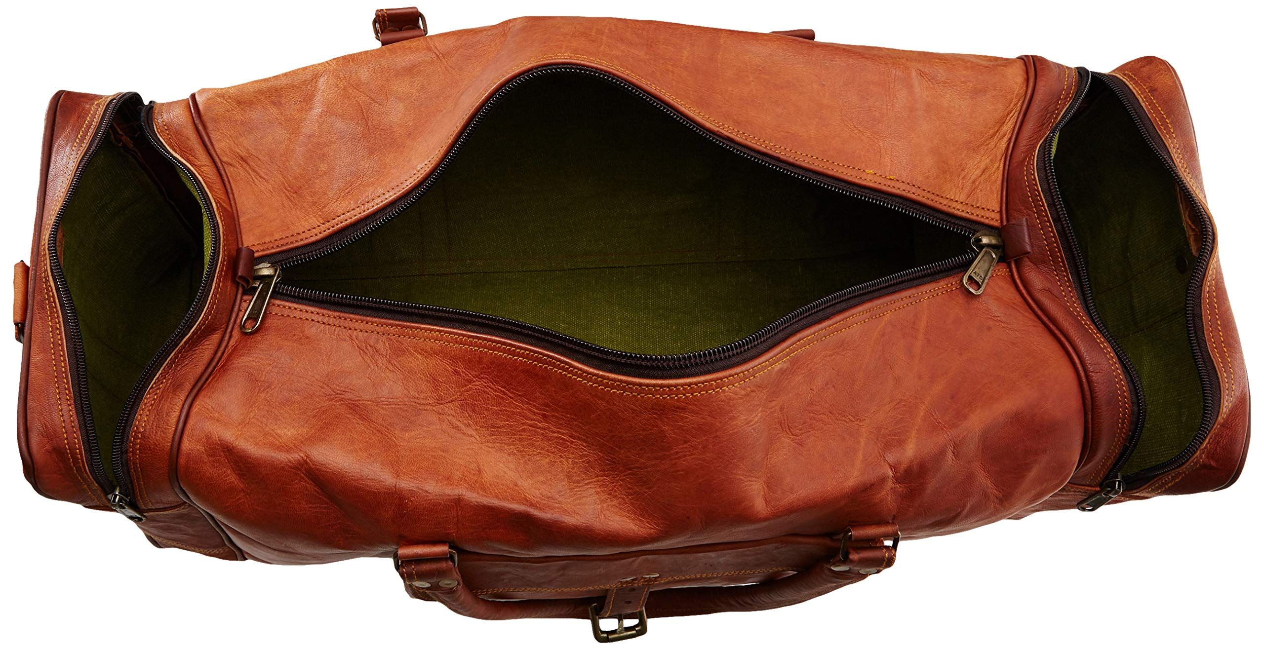 Leather 24 Inch Square Duffel Travel Gym Sports Overnight Weekend Leather Bag by Ruzioon (Image #5)