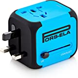 PORS-ELA International Travel Power Adapter with 2.4A Dual USB Charger & Worldwide AC Wall Outlet Plugs for UK, US, AU, Europe & Asia - Spare Fuse, Gift Pouch - Blue