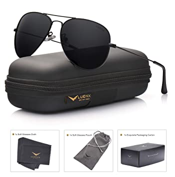 61ae272782a88 LUENX Aviator Sunglasses Mens Womens Polarized with Case - UV 400 Non  Mirror Black Lens Black
