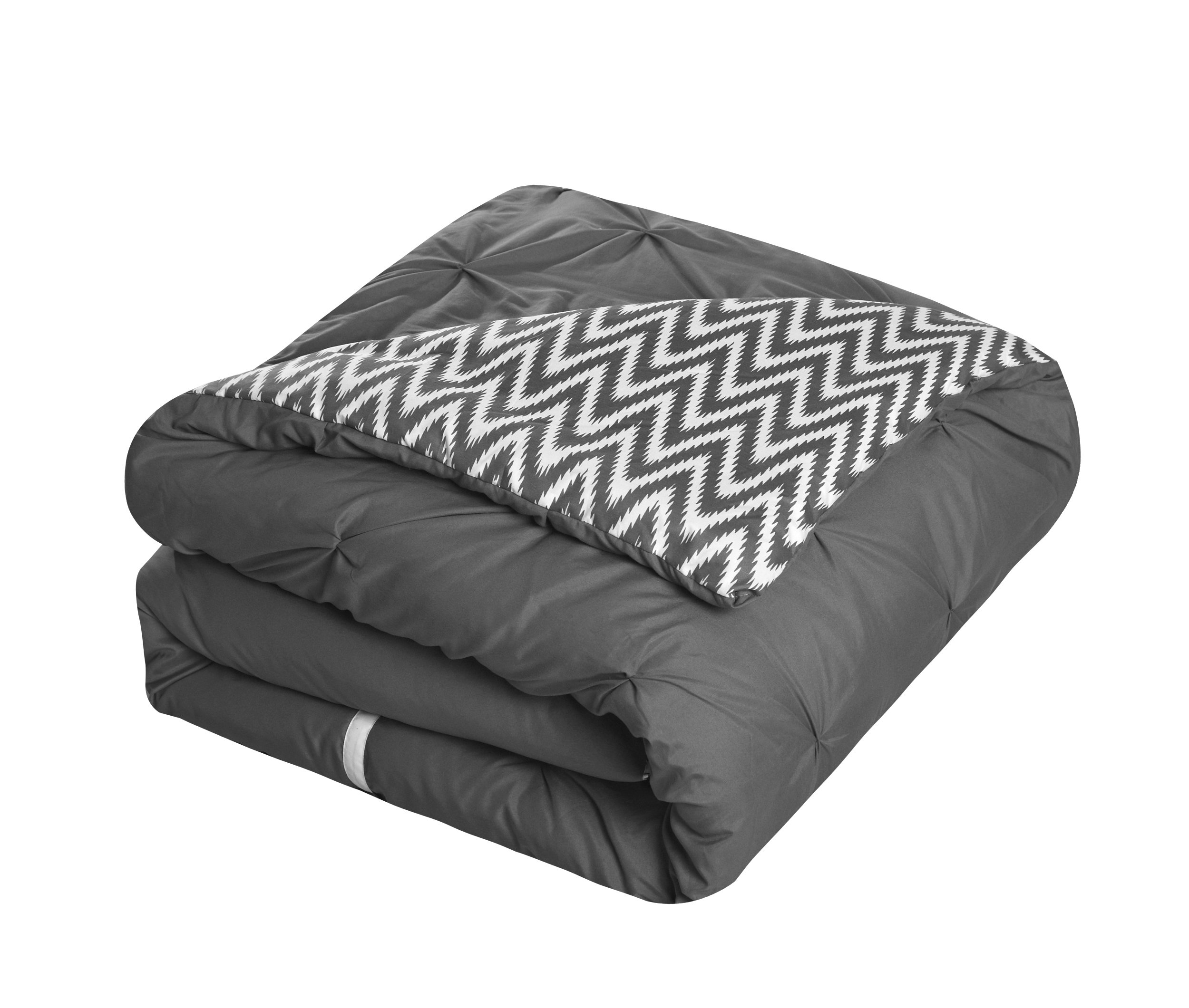 Chic Home CS0586-AN 20 Piece Jacksonville Complete Bed Room In A Bag Super Pinch Pleated Design Reversible Chevron Pattern Comforter Set, Sheet, Window Treatments And Decorative Pillows, Queen, Grey by Chic Home (Image #4)