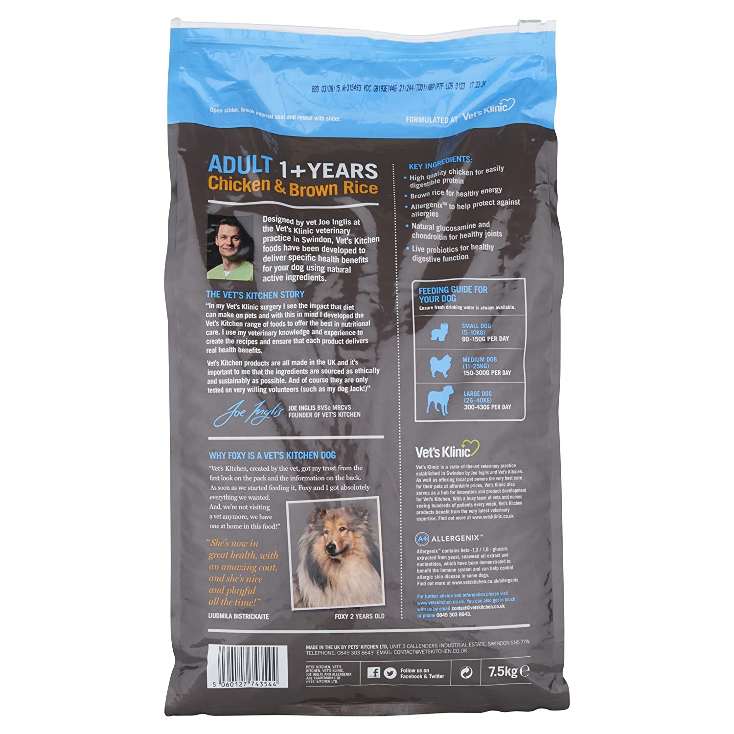 Vet S Kitchen Chicken And Brown Rice Complete Dog Food 3kg Amazon