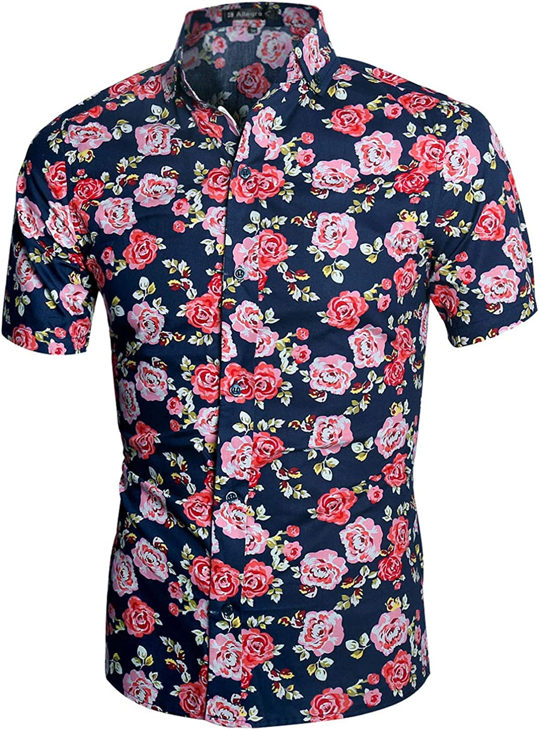 Domple Mens Floral Print Buttons Short Sleeve Hawaiian Plus Size Shirts