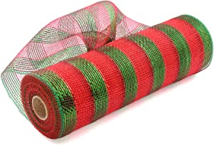 Acekit Deco Poly Mesh Ribbon with Metallic Foil 10 inch x 30 feet Each Roll for Wreaths, Swags Bows Wrapping and Decorating Projects-Red with Green foil