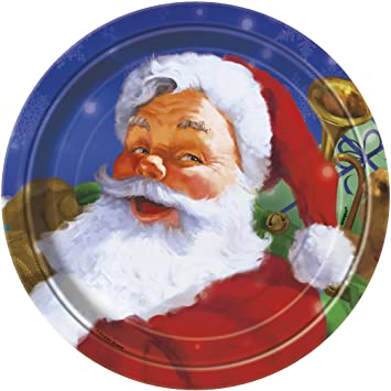 Amazon Com Holiday Santa Christmas Dessert Plates 8ct Kitchen