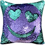 "DrCosy Mermaid Pillow Case 16""x16"" Magic reversible Sequins Pillow Covers (Teal Green/Purple)"