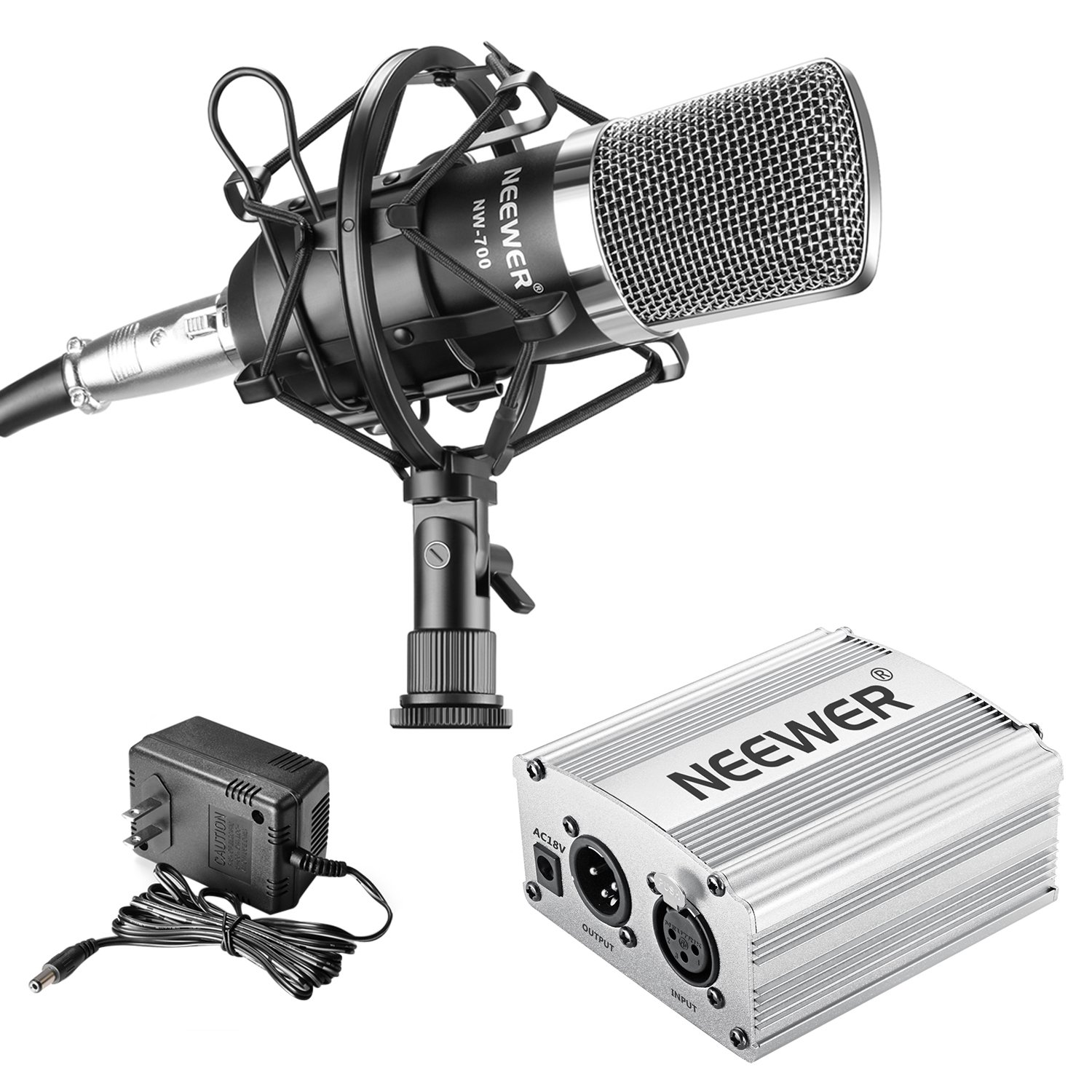 Neewer NW-700 Professional Condenser Microphone and Phantom Power Kit with Mic Shock Mount,48V Phantom Power Supply(Silver), XLR Audio Cable for Home Studio Sound Recording, Podcasting by Neewer