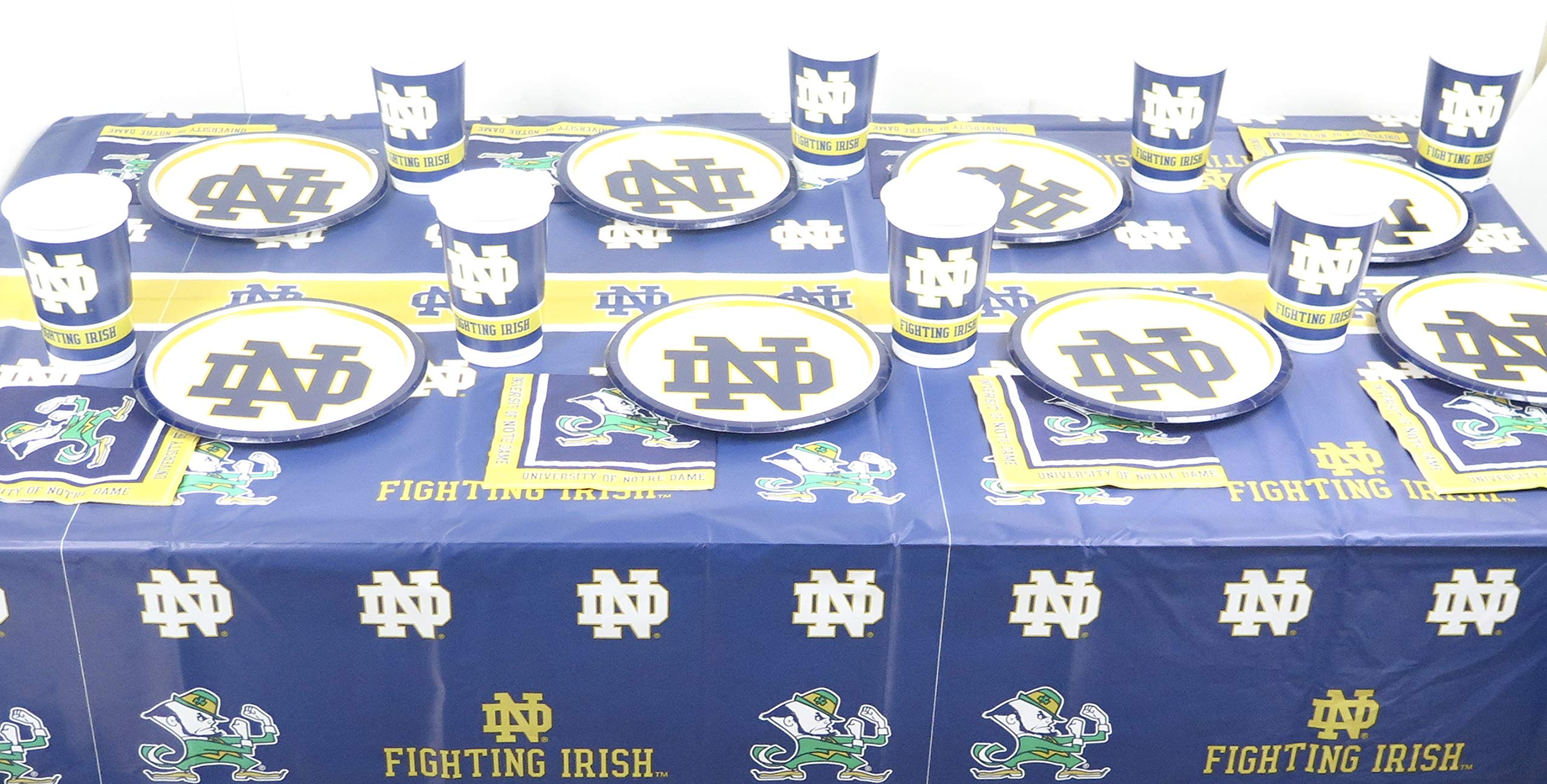 Notre Dame Football Graduation Party, 49 Pieces Set, Includes Plates, Napkins, Jumbo Plastic Cups and a Tablecloth