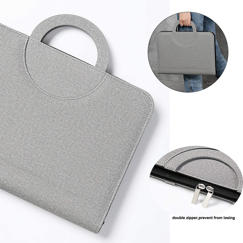 A4 mit Rei/ßverschluss Powerbank Kartenhalter Konferenzmappe Leder mit Ringbuch A4 Schreibblock Taschenrechner und Notizbuch Schwarz