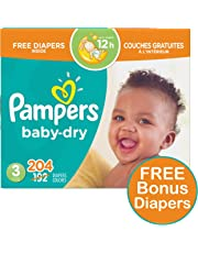 Pampers Diapers Size 3, Baby Dry Disposable Baby Diapers, 192 Count PLUS LIMITED TIME BONUS DIAPERS