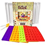 My Fruit Shack DIY Fruit Snacks Kit with 4 BPA Free LFGB/FDA Grade Silicone Molds (Makes 160 Gummies Total), 4 Custom Drip Trays, 2 Droppers and 1 Basic Recipe Page