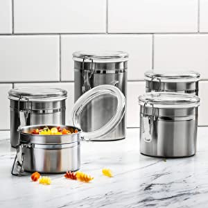 Beautiful 5-Piece Stainless Steel Airtight Canister Set, Food Storage Container & Caddy for Kitchen Counter, Tea, Sugar, Coffee, Candy, Flour Canister with Clear Acrylic Lid n' Locking Clamp
