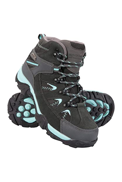 319859facecac Mountain Warehouse Rapid Kids Waterproof Boots - Durable Hiking Shoes,  Breathable, Ladies Suede & Mesh Upper Footwear, Heel & Toe Bumpers - Ideal  for ...