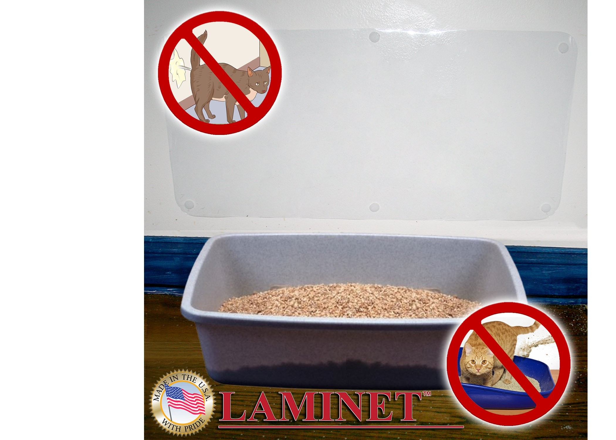 "LAMINET The Original Deluxe Cat Wall Scratch Shield - Protect Your Walls with Our Deluxe Heavy-Duty Flexible Cat Scratch Shield - (32""L x 16""W)"