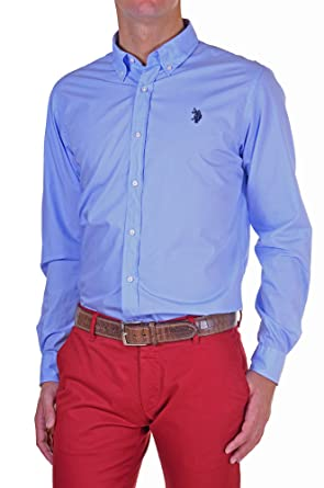 U.S. Polo Assn. - Camisa Hombre Slim Azul Cielo XL: Amazon.es ...