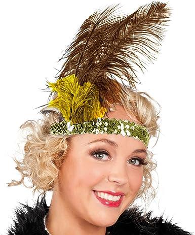 Fancy Dress Sequin Head Band Feather Flapper Headdress 1920/'s Charleston Dance