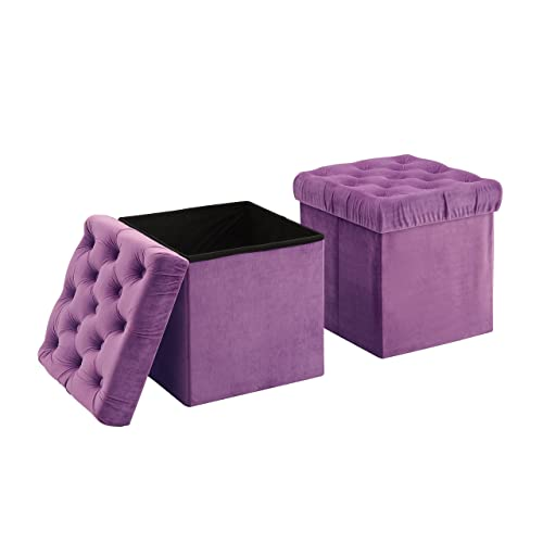 Christies Home Living Foldable Storage Ottoman Cube Foot Rest, Purple 2 Pack