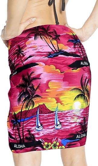 """64ffa8e2a7 LA LEELA Likre Aloha Party Hawaiian Women Wrap Sarong Printed  78""""X21"""" Pink_430"""