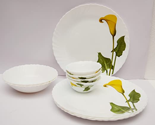 LaOpala Amber Lily Dinner Set, 21-Pieces, Multicolour
