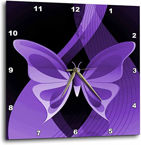 3dRose 3D Rose One Large Purple Butterfly On an Abstract Background-Wall Clock, 15-inch DPP_101431_3